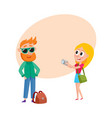 couple of tourists man and woman on tour making vector image