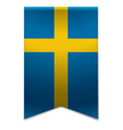 Ribbon banner - swedish flag vector image