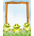 Wooden frame with frogs background vector image