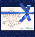 Christmas card with a blue bow vector image