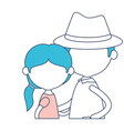 faceless half body elderly couple with grandmother vector image