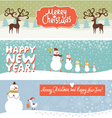 Set of horizontal Christmas and New Year banners vector image