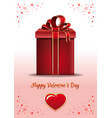 valentines day card with red gift box vector image