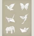 Origami set white vector image