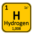 Periodic table element hydrogen icon vector image