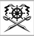 pirates emblem - steering wheel and crossed swords vector image
