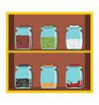 set flat cartoon shelf spices vector image