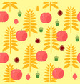 wheat and apple seamless autumn pattern vector image