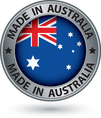 Made in Australia silver label with flag vector image