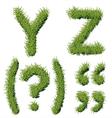 Green Grass Alphabet Y Z vector image