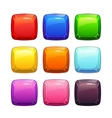 Cartoon colorful glossy stone square buttons vector image