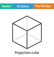 Cube with projection icon vector