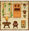 Antique wooden furniture on the old paper vector image