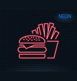 burger with fries icon fast food restaurant vector image