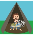 dad father and son kids reading book story in tent vector image