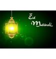Eid Mubarak with illuminated lamp vector image