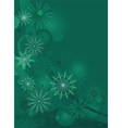 green background with delicate snowflakes vector image
