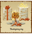 Autumn bonsai from sunflowers and gift box vector image