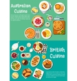 Typical dishes of british and australian cuisine vector image