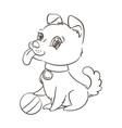 happy golden cartoon puppy cute little dog vector image