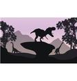 Silhouettte of baby Brachiosaurus and T-Rex vector image