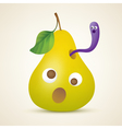 Funny yellow pear with worm vector image vector image