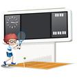 A boy playing tennis vector image vector image