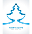 Christmas blue tree from ribbon background vector image