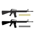 Assault rifles with bullets Color Silhouette vector image