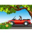 A man driving a red car vector image