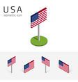 American flag usa set isometric icons vector image