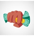 Punch fist with money vector image