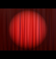 Red closed theater curtain with reflector vector image