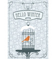 winter banner with red bird in the cage vector image