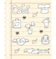 Paper hand draw love theme vector image