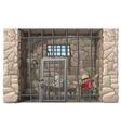 Cowboy prisoner sleeps in a prison cell vector image
