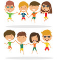 cute couples jumping outdoor vector image