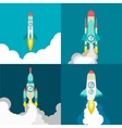 Four poster of rocket ship in a flat style Space vector image