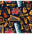 Seamless flat musical instruments pattern vector image