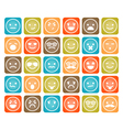 set of color smiley icons isolated vector image