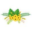 yellow flowers bunch floral design with leaves vector image