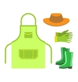 Garden apron and rubber boots isolated vector image