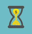 time is money concept with golden coins and bag vector image