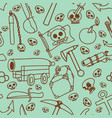 seamless pattern of pictures on a theme of pirates vector image