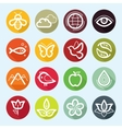 flat icon set - nature flora and fauna vector image