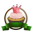 Cupcake with green ribbon vector image vector image