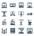 3D Printing Black Contour Icons Collection vector image