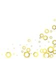 Gold glittering foil hexagons on white background vector image