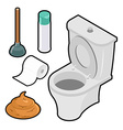 Toilet icon set Isometric White toilet Green vector image
