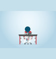 businessman reading newspaper on chair with table vector image